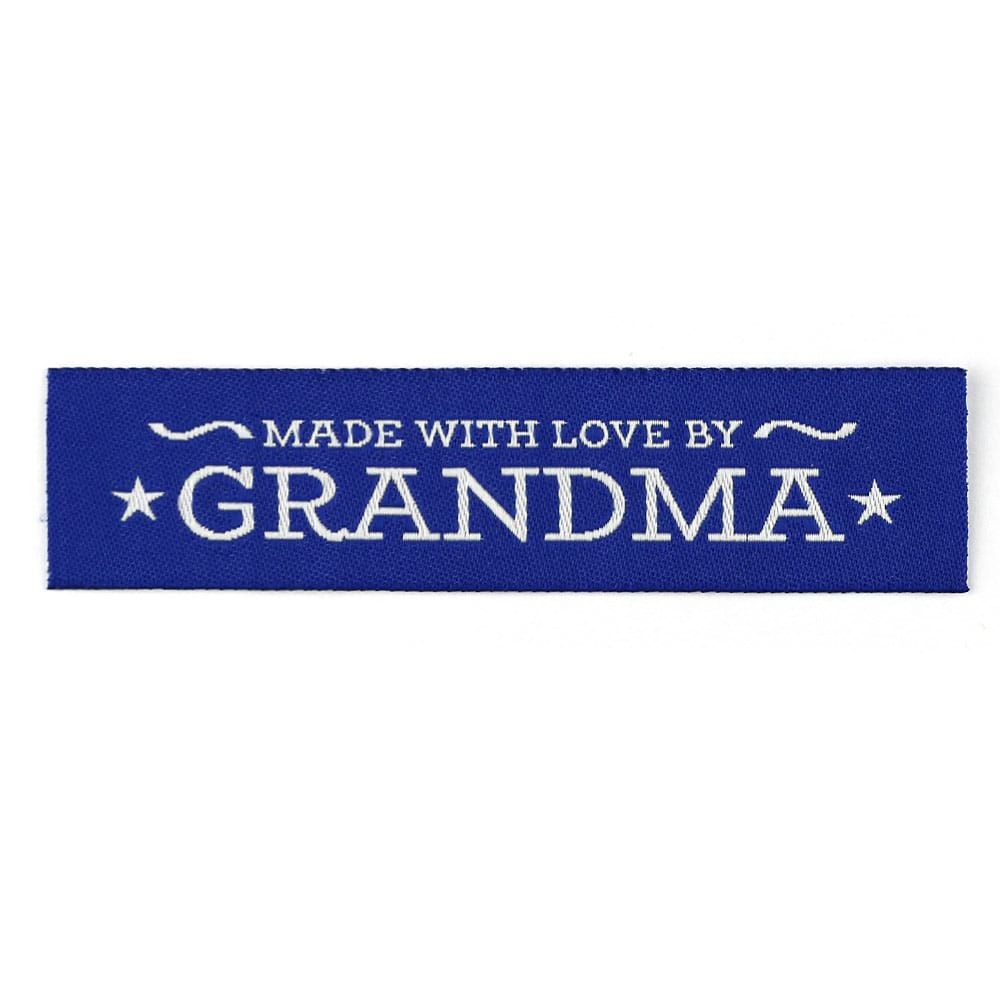 Woven Labels - Made with Love by Grandma - Blue