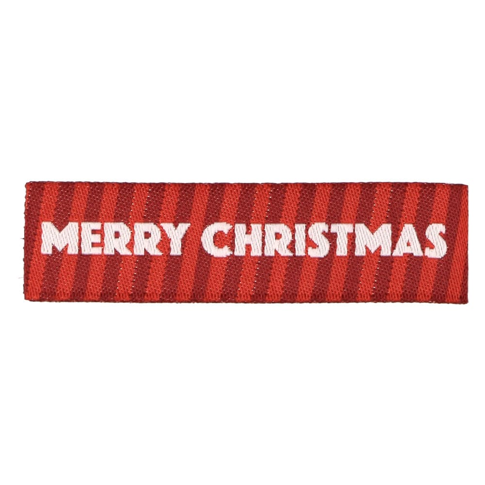 Christmas Woven Labels - Red Stripes