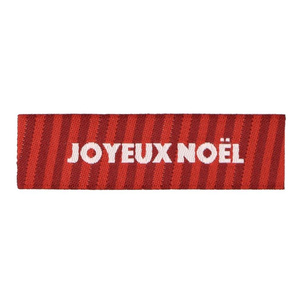 Étiquettes Tissées Noël - Rayure Rouge